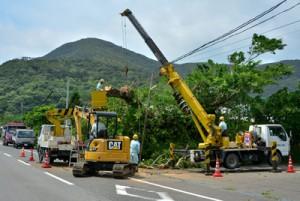 停電解消に向け急ピッチで進む復旧作業=22日午前11時すぎ、龍郷町龍郷