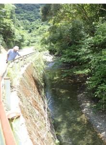戸口川の上流を確認する泉会長=9日、龍郷町戸口
