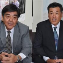 会見で村長選出馬を表明した(左から)肥後、元山の両氏=25日、奄美市名瀬の県大島支庁記者クラブ