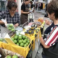 宇検村産のレモンをPRする生産者ら=21日、鹿児島市