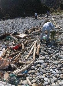 漂着ごみなどを回収した観光地クリーンキャンペーン=10日、瀬戸内町のホノホシ海岸