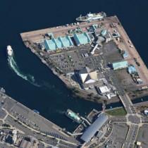 まちづくりのグランドデザイン素案が示された鹿児島市の鹿児島港本港区=17日(二宮忠信さん撮影)