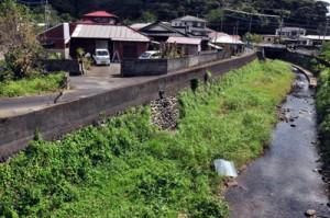 2010年の奄美豪雨で右の冷川が氾濫し集落全体が冠水した西仲間地区=20日、奄美市住用町