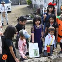 写真などをヒントに、工場の基礎に使われていた白糖石(凝灰岩)を見つけた小学生ら=28日、瀬戸内町久慈