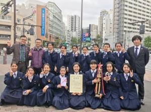 2018(第24回)日本管楽合奏コンテスト全国大会で活躍した朝日中学校吹奏楽部=18日、東京都(提供写真)