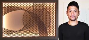 見本市で展示される壁面照明の組子細工(提供)と、製作者の森田良平さん=4日、奄美市名瀬