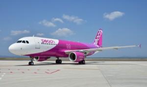 2019年10月に成田―奄美大島に就航するピーチ便の機材(ピーチ・アビエーション提供)