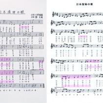 石神京子さん所有の「日本復帰の歌」の楽譜(上)と、現代の歌い方で記された楽譜(『るりかけす第51号』より)。網掛け部分は今回指摘された箇所