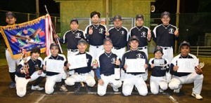 E級初優勝の吉田商事アクアネオス=18日、名瀬運動公園多目的広場