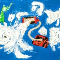 馬場君の作品「台風そうじき」