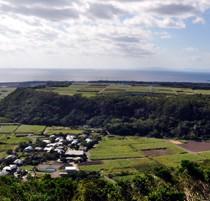 テーバルバンタから見る約6万年前のサンゴ礁段丘(写真中央部の丘の部分)。海の向こうには奄美大島の島影も=2018年11月
