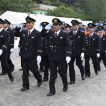 地域防災の要として活動する奄美市消防団(写真は出初め式)=1月6日、同市名瀬