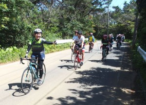 ロードバイクに乗り、徳之島路を走るピクニックライド参加者=17日(提供写真)