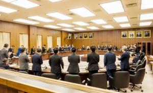起立採決で改正奄振法案を可決した衆院国交委員会=13日、衆院分館第18委員室
