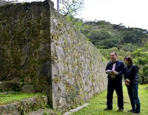 龍郷町有形文化財に指定された「琉球石垣」を調査する宮城さん(左)と案内する伊東さん=11日、同町秋名