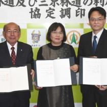 剝岳、三京両林道の利用に関する協定を締結した3者の代表者=19日、天城町役場
