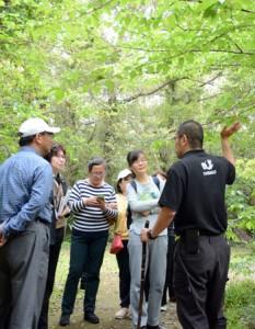 ガイドの説明を受けながら散策を楽しむツアー参加者=9日、奄美自然観察の森