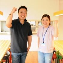 古仁屋高校コーディネーターとして着任した(左から)高田さん、土井さん=10日、瀬戸内町清水の紫雲寮