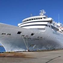 徳之島に寄港した旅客船「ぱしふぃっくびいなす」=18日、天城町平土野