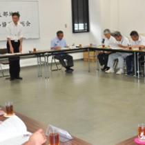 赤土等の流出防止対策について協議した総会=13日、和泊町