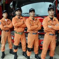 ロープブリッジ救助の県代表として九州大会に出場する大島地区消防組合チーム=21日、奄美市名瀬