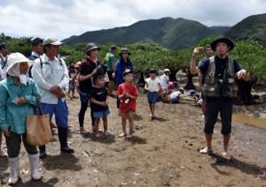 干潟で生き物の観察を楽しむ参加者=28日、奄美市住用町