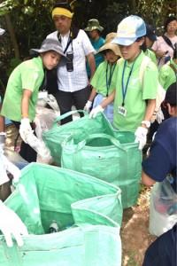 海岸清掃を行い、漂着ごみを調べた現地視察最終目=25日、沖縄県西表島