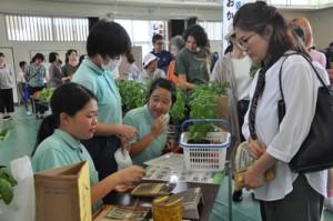 多くの買い物客でにぎわった「しおかぜ市場」=20日、龍郷町