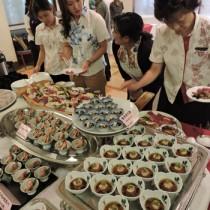 島々の料理が並んだ試食会=10日、那覇市のホテル