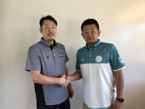 パートナーシップを締結した(左から)ASA奄美スポーツアカデミー