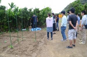 「いもーれ奄美民泊村」の農園に集まったIターンフレンズの会=27日、奄美市名瀬有良