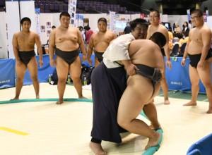 奄美からは相撲の紹介ブース 鹿児島国体・障がい者スポーツ大会