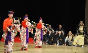 今年60年ぶりに再演された畦布集落の組踊「高平良御鎖」=同
