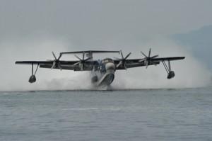 江仁屋離島での自衛隊統合訓練で使用された救難機US2(海上自衛隊ホームページより)