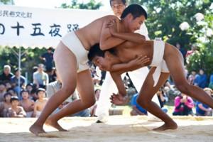 小学生から一般まで約140人が真剣勝負を繰り広げた与論町奉納相撲大会=11日、同町の琴平神社