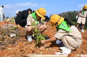 植樹を行う参加者ら=2日、徳之島町徳和瀬