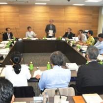 「奄美大島生物多様性地域戦略」の改訂に向けて議論した専門委員会=24日、奄美市名瀬