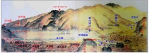 1830年代に描かれた地図「琉球嶌真景」(名護博物館所蔵)を一部加工