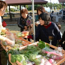 アマンディー市で地場産野菜を買い求める来場者ら=29日、奄美市笠利町