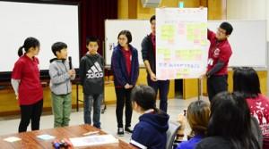 子ども世界自然遺産講座で学んだことや感じたことを発表する児童生徒=7日、奄美市名瀬