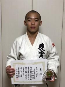男子個人60キロ級で優勝し、全国大会に出場する岩元(提供写真)