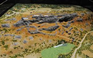沖縄県立博物館・美術館の特別展で公開されている与論グスクのジオラマ模型=那覇市(同館所蔵)
