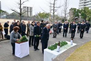 鹿児島県人会連合会の追悼式=17日午前10時すぎ、神戸市大倉山公園