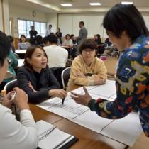 異なる業種の社員らがアイデアを出し合ったイノベーション・キャンプ=3日、奄美市役所笠利総合支所