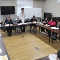 国内での新型コロナウイルスの感染拡大を受け、和泊町が設置した同感染症対策会議の初会合=21日、同町役場