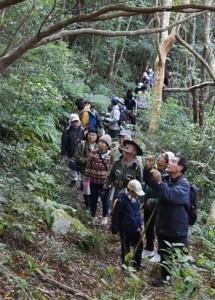 登山道を歩いて自然観察を楽しむ住民ら=2018年1月、湯湾岳