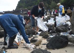 砂浜でごみを回収した参加者=15日、奄美市笠利町のあやまる岬北側の海岸