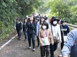 林道の自然に親しみながら歩く参加者=11日、天城町当部