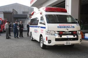 大島地区消防組合名瀬消防署に配備された高規格救急車=6日、奄美市名瀬の同署