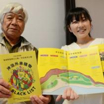 啓発リーフレット「沖泊外来植物ブラックリスト」を手に外来種被害予防を呼び掛ける(左から)新納さんと釜さん=21日、知名町